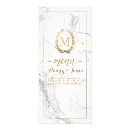 PixDezines Marble/Shine Menu/Faux Gold Rack Card Wedding