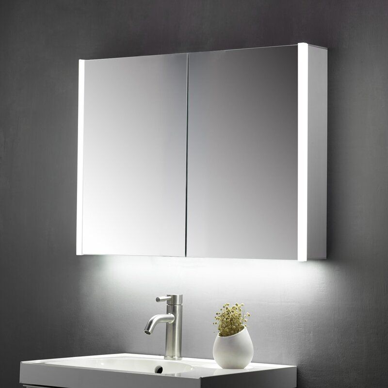 Crumb 70cm H X 60cm W Wall Mounted Mirror Cabinet With Led Lighting In 2020 Mirror Cabinets Wall Mounted Mirror Mirror