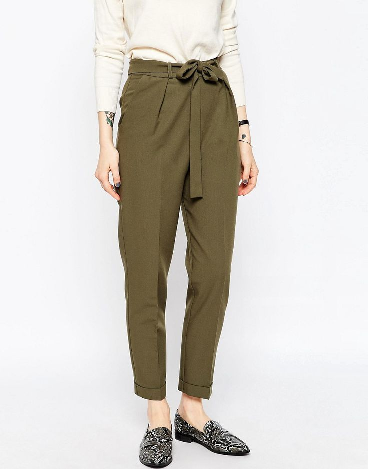 3ed529e3631 ASOS olive colored peg trousers for women s business casual work wear.