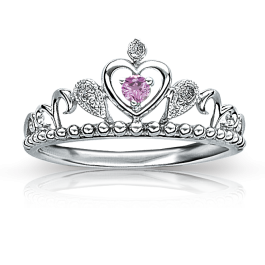 Princess Tiara Silver with Pink Stones