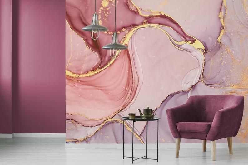 Pink And Lilac Abstract Wallpaper Self Adhesive Peel And Etsy Abstract Wallpaper Wallpaper Abstract Wall Painting