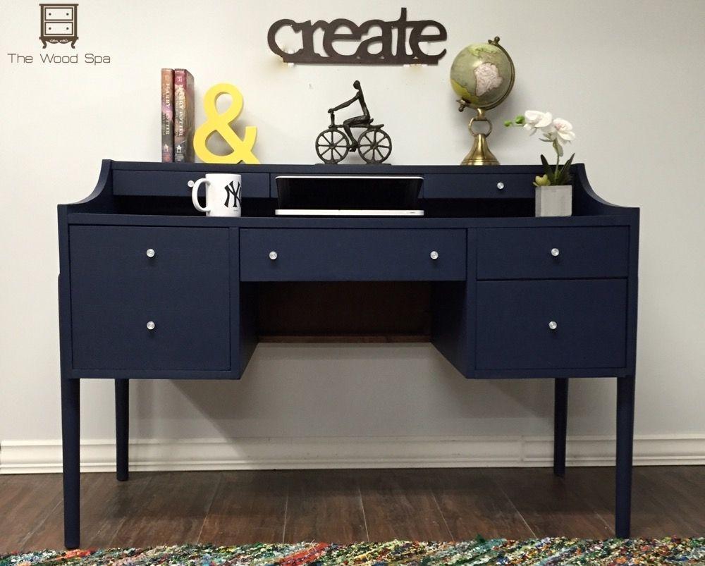 Navy Blue Desk Desk Wood Spa Diy Furniture