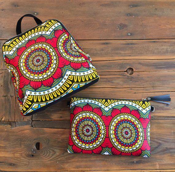 fe1db24e716 Sac à dos wax tissu africain imprimé géométrique graphique jaune rouge - sac  à dos femme cadeau de Noël  otake  wax  ankaraprint  waxprint  sacàdos ...