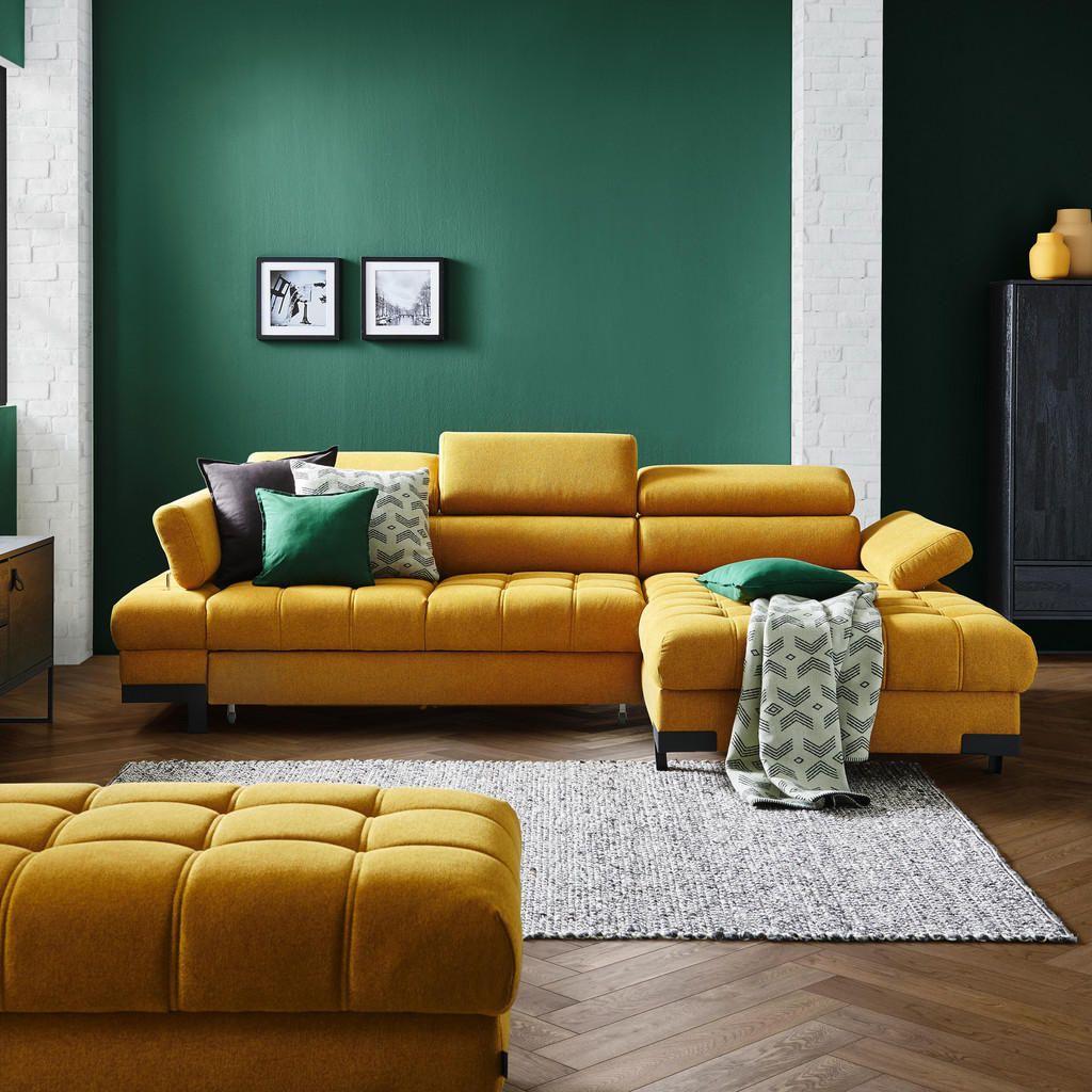 Welnova Wohnlandschaft in Textil Gelb – Gelb