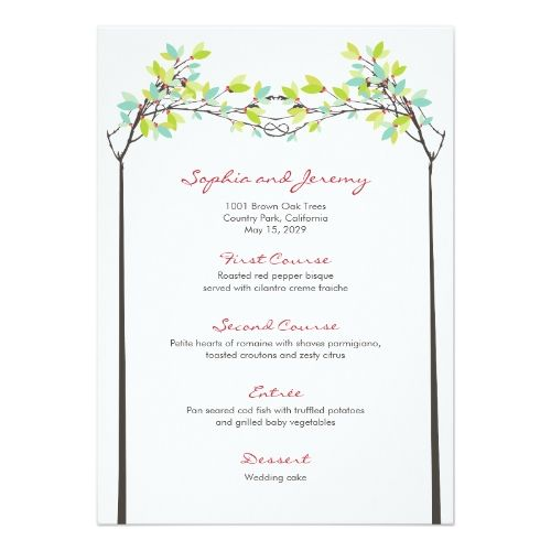Spring Wedding Menu Leaves Knotted Love Trees Card