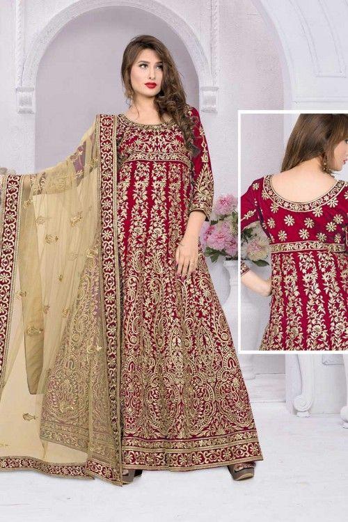 Red Banglori Silk Anarkali CHuridar suits Online  http://www.andaazfashion.co.uk/salwar-kameez/anarkali-suits/bridalwear