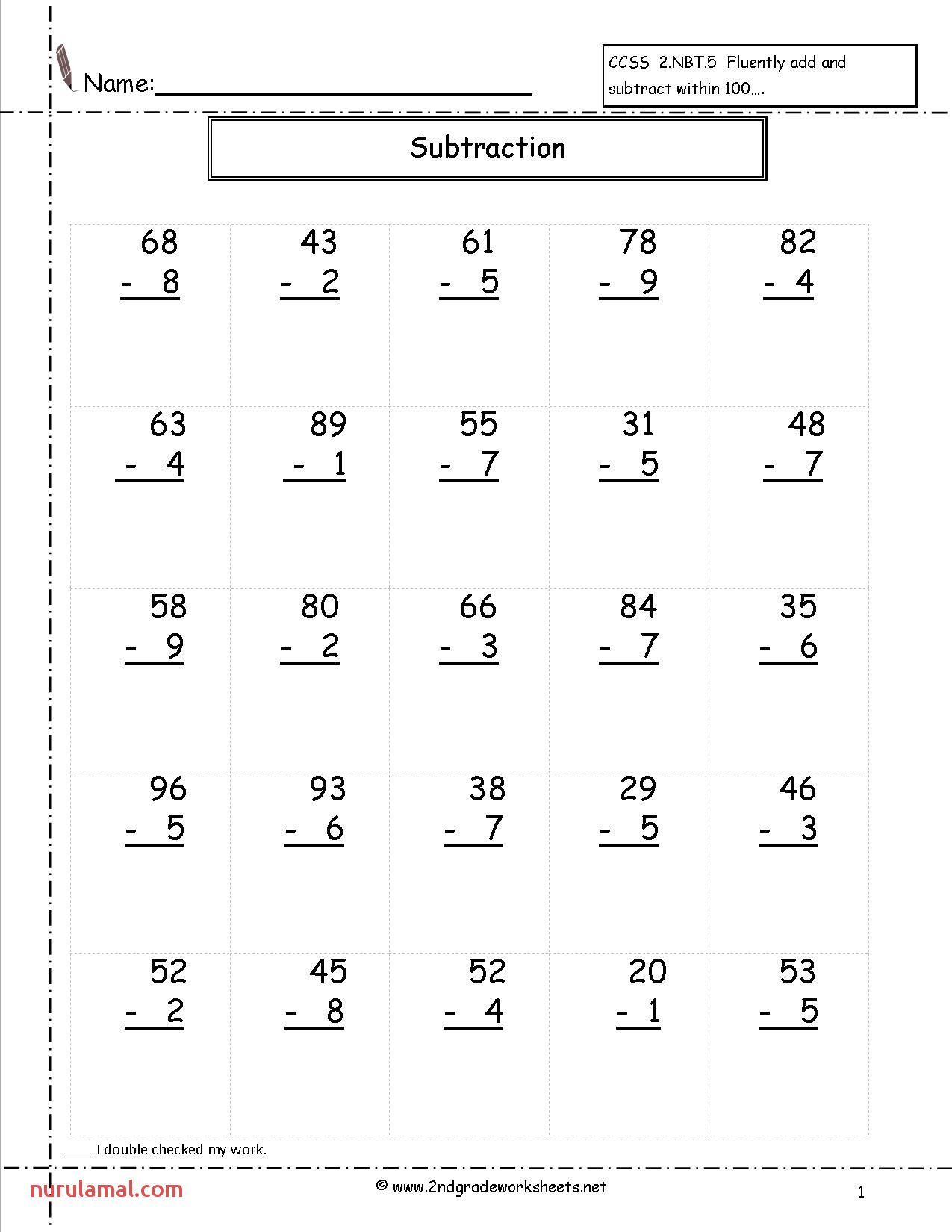 Two Digit Math Worksheets 2nd Grade In