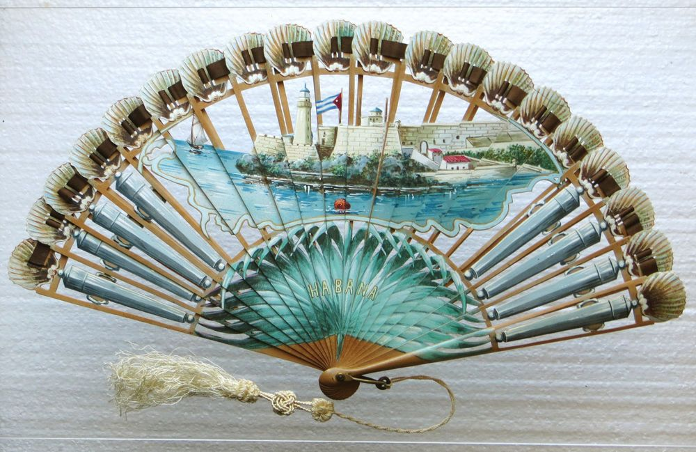 Antique Hand Painted Wooden Cuban Fan Best Souvenir Ever Fans In