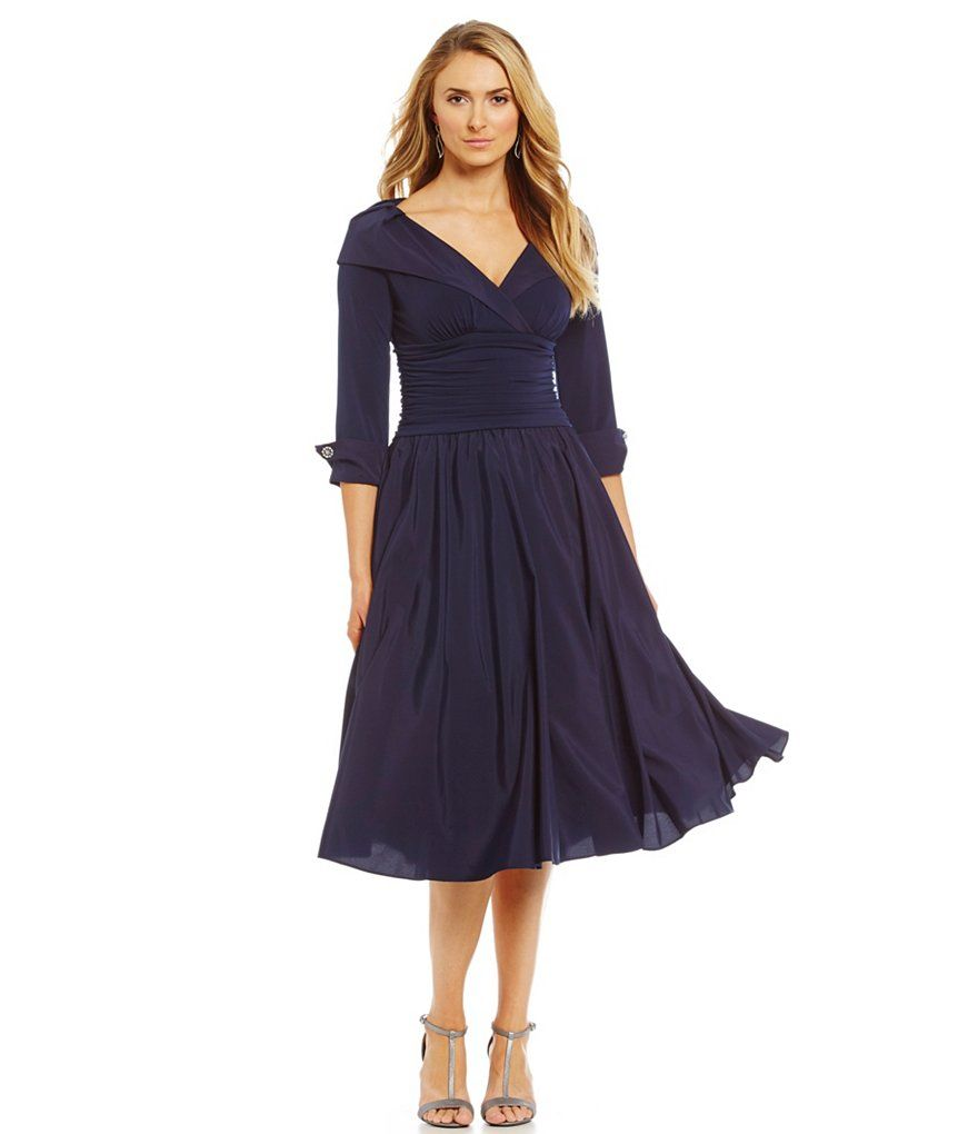 973282e623d6 Navy Blue Jessica Howard Portrait-Collar Party Dress