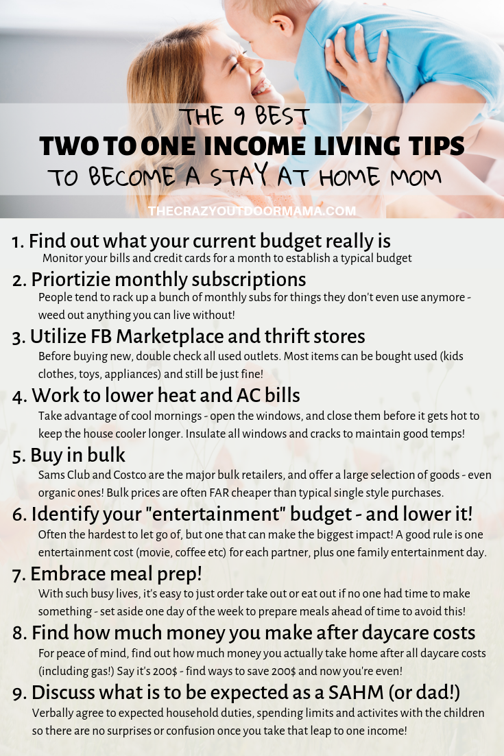 Be a stay at home mom, and make the jump to living on one income! Stay at home mom hopefuls should check out this quick mom inspiration budget chart to see some easy ways to cut costs and stay home! Living on one income often requires some sacrifice, but it's all worth it once you get there!