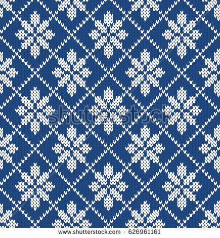 Floral Argyle Seamless Knitting Pattern | fair isle | Pinterest ...