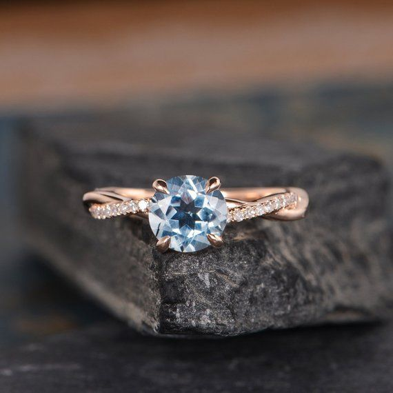 Infinity Aquamarine Engagement Ring Rose Gold Round Cut Solitaire Ring Diamond Half Eternity Ring Br #aquamarineengagementring