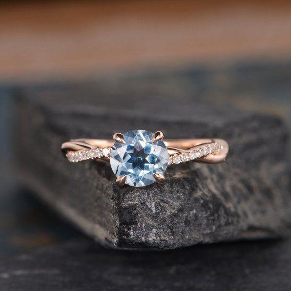 Infinity Aquamarine Engagement Ring Rose Gold Round Cut Solitaire Ring Diamond Half Eternity Ring Br #aquamarineengagementring