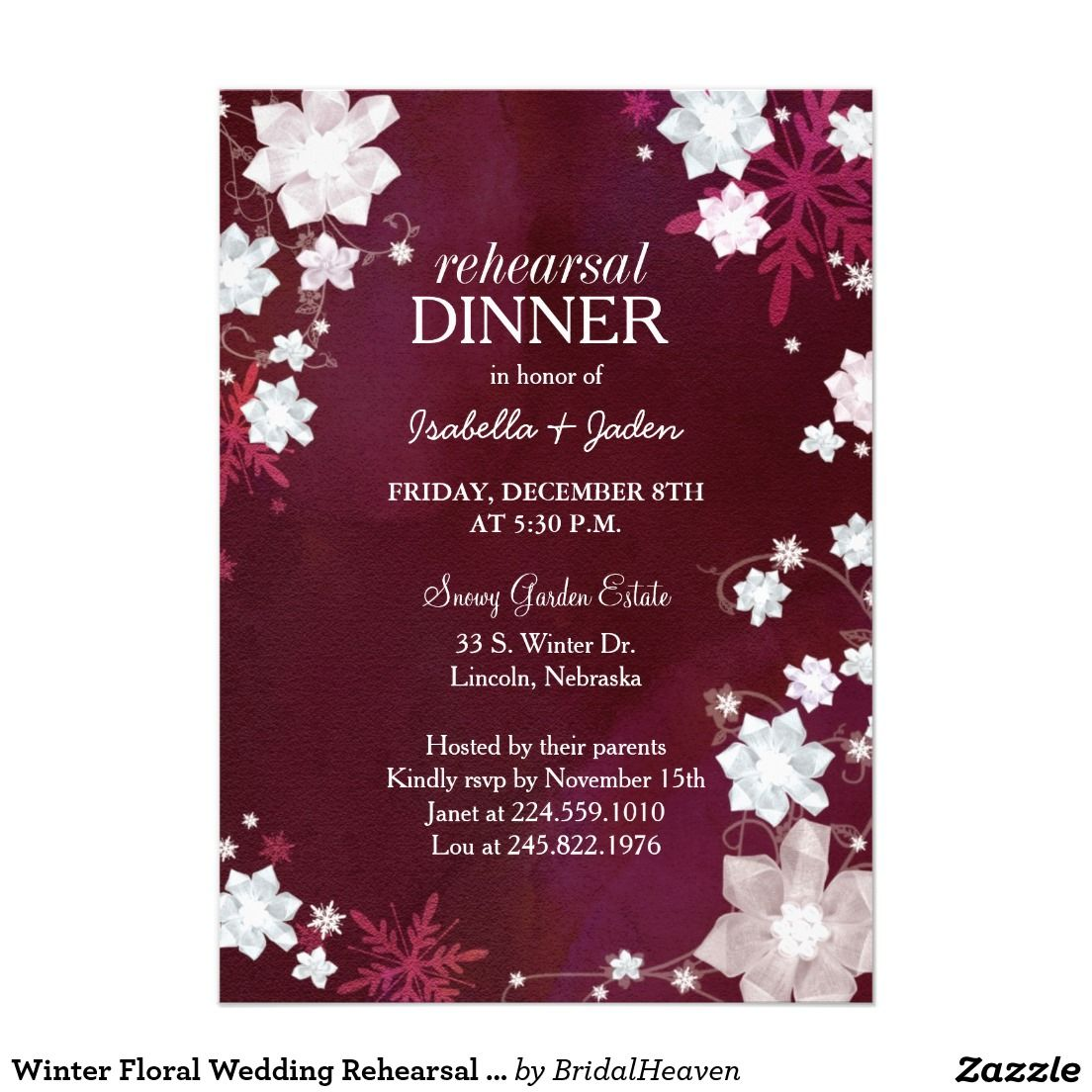 Winter Floral Wedding Rehearsal Dinner Invitation | WINTER WEDDING ...