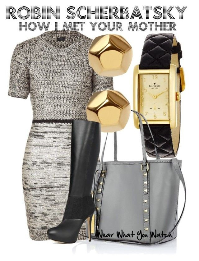 """How I Met Your Mother"" by wearwhatyouwatch ❤ liked on Polyvore featuring Kate Spade, Joseph, River Island, Eddie Borgo, JustFab, tweed, pencil dresses, knee high boots, cobie smulders and gold earrings"