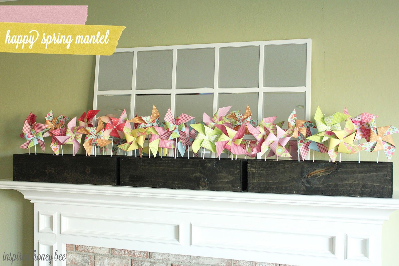 Inspired Honey Bee: whimsical spring mantel---I'd like to put the pin wheels in a window box also.