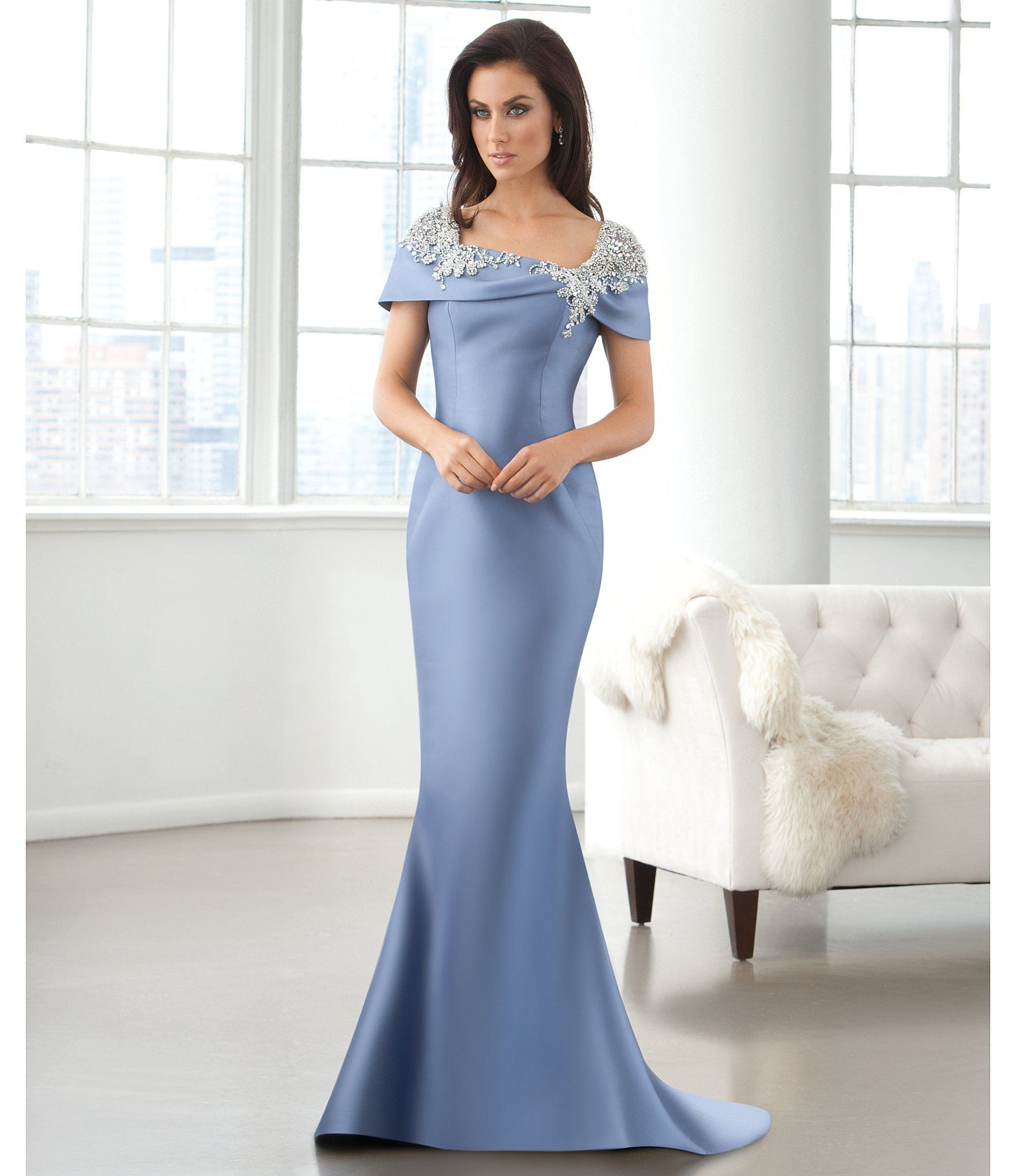 Shop For Lasting Moments Portrait Collar Beaded Mermaid Gown At