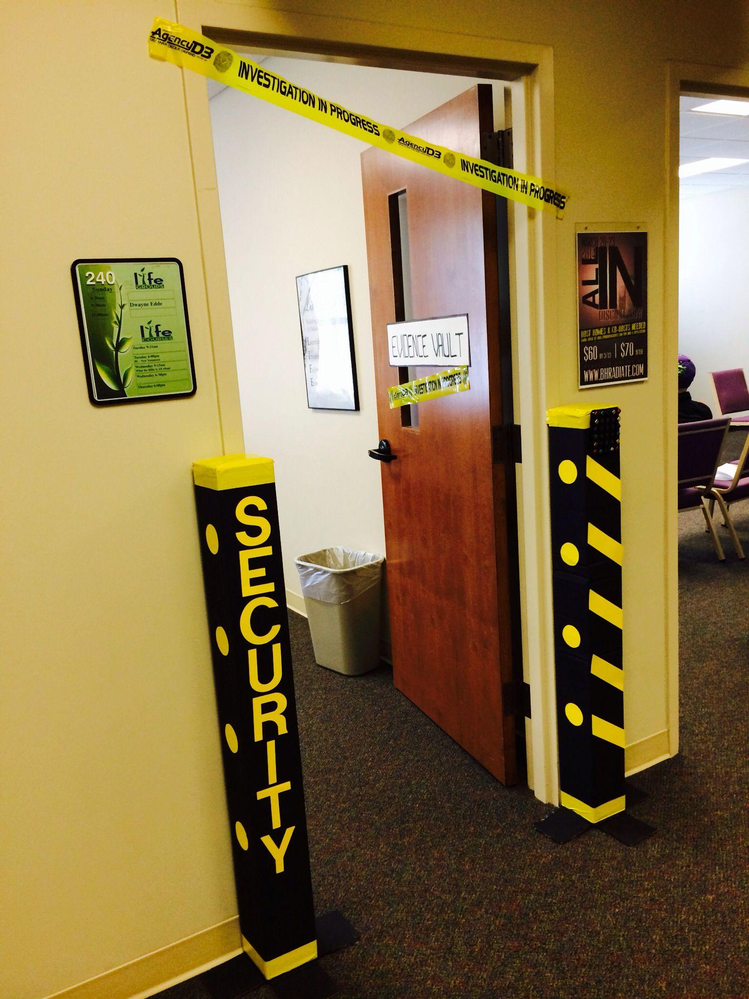 Security Entrance for PreK  VBS 2014 Agency D3  Spy kids Spy party Secret agent party