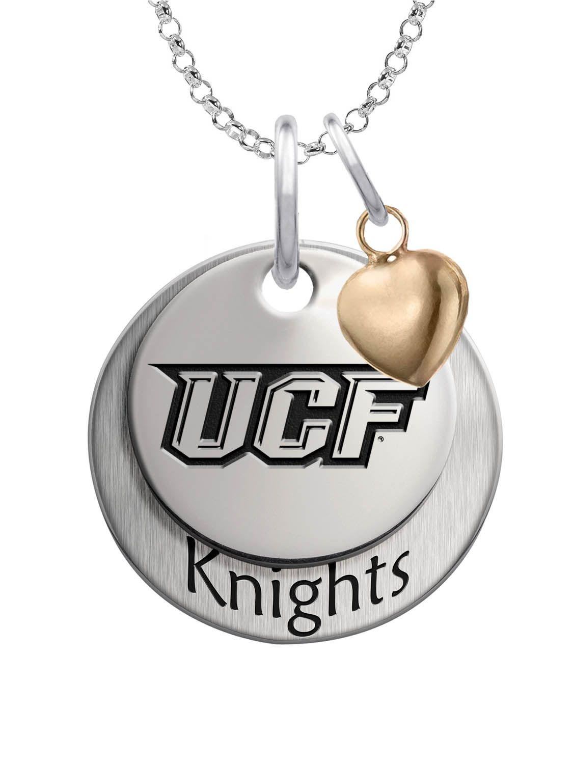 Solid sterling silver Central Florida Knights charm set with heart accent.