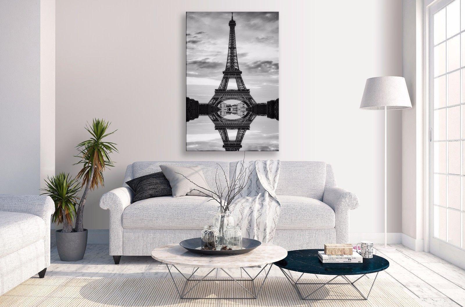 Eiffel tower canvas sunset reflection black portrait wall art