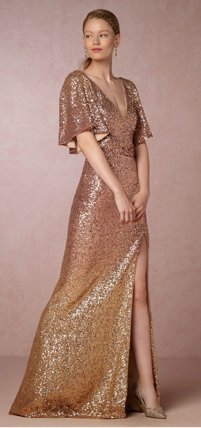 Sequined Gown In Blush Rose Gold And Gold Ombre By Marchesa The Sybil Dress From Bhldn Copper Dress Wedding Guest Dress Metallic Bridesmaid Dresses [ 1503 x 705 Pixel ]
