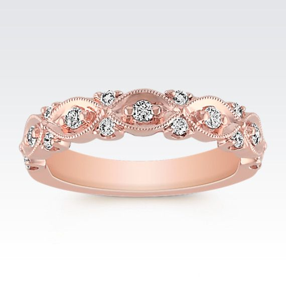 round diamond and milgrain wedding band in 14k rose gold