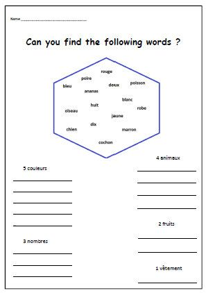 Free Printable French Worksheets For Kindergarten