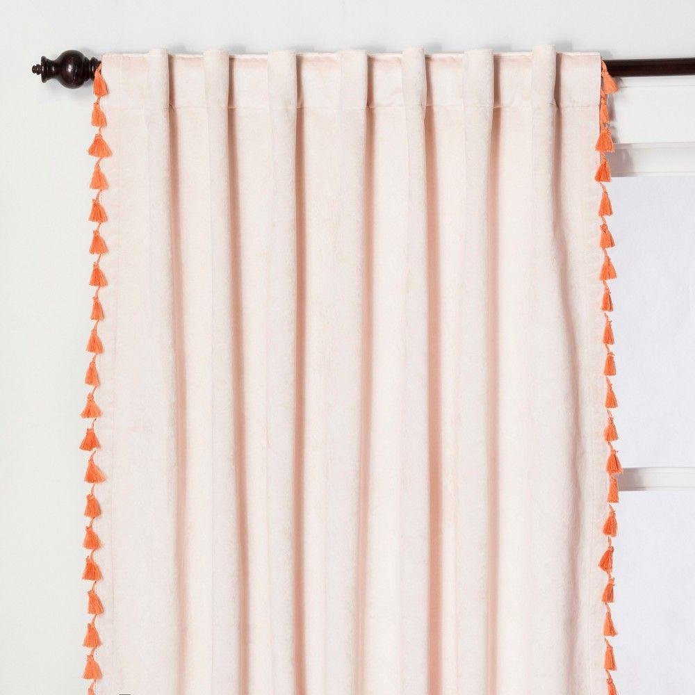 95 X54 Velvet Curtain Panel With Orange Tassels Blush Opalhouse