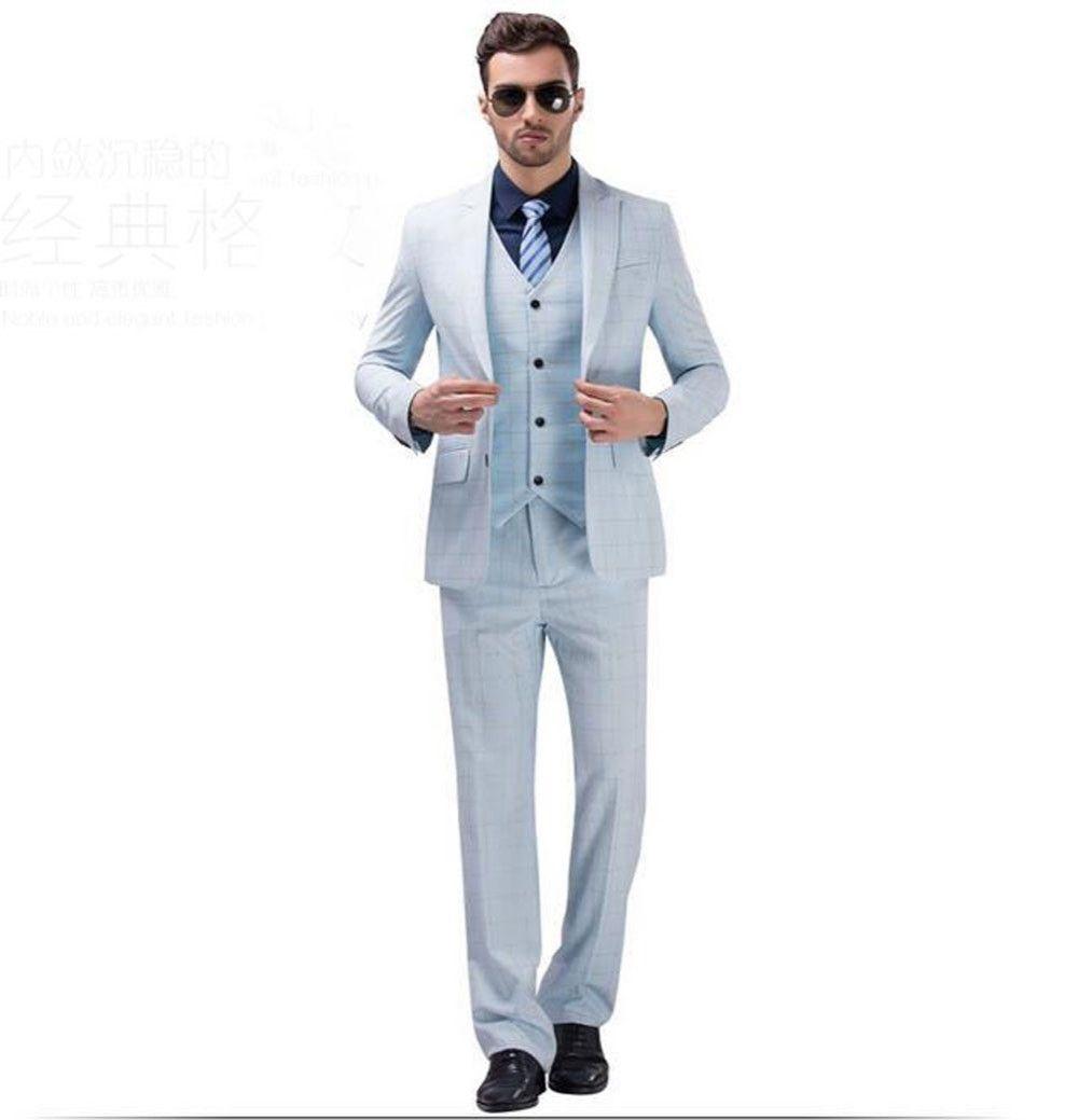 2017 White Blue Plaid Wedding Suits Groomsmen Best Man Suit Groom ...