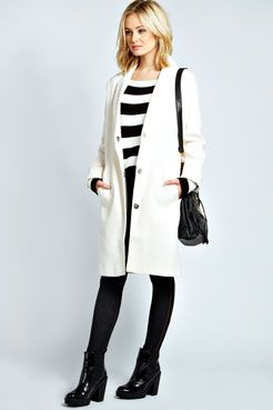 Lucille Wool Look Longline Boyfriend Coat at boohoo.com