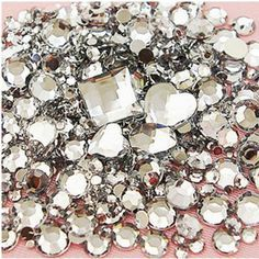 Mix Size Clear Color Round Acrylic Loose Non Hotfix Flatback Glue On Rhinestone Gems 3D Nails Art Crystal Stones Decorations-in Rhinestones ...