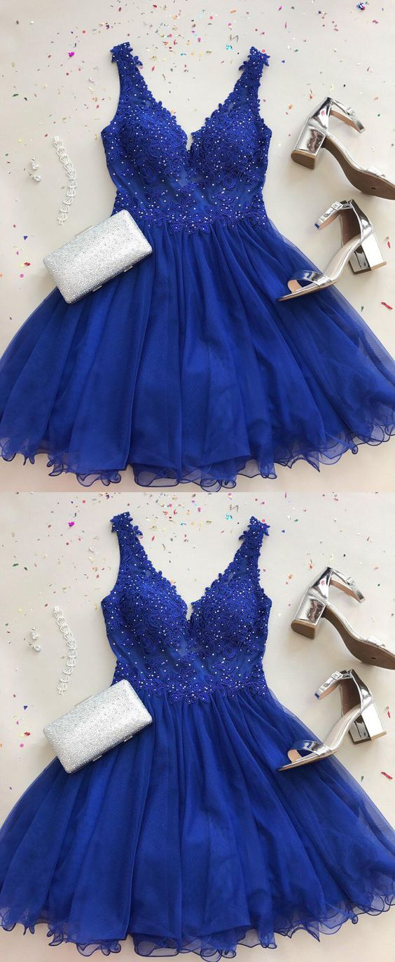 » Cute A Line V Neck Tulle Beaded Royal Blue Short Homecoming Dresses with Appliques, Formal Short Prom Dresses HD0812008 2