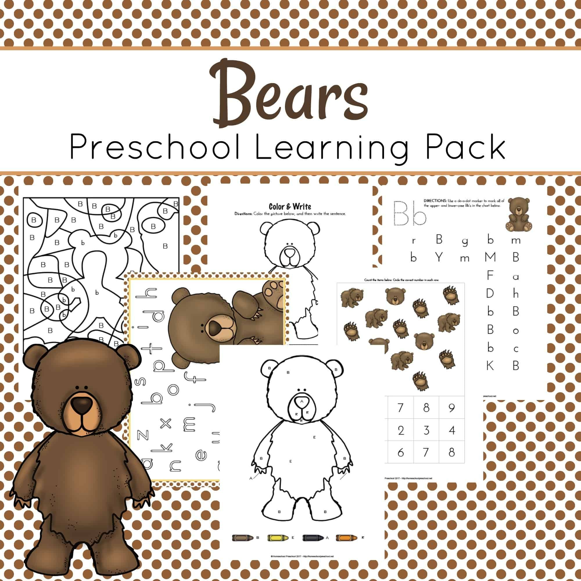 B Is For Bears Preschool Learning Pack With Images