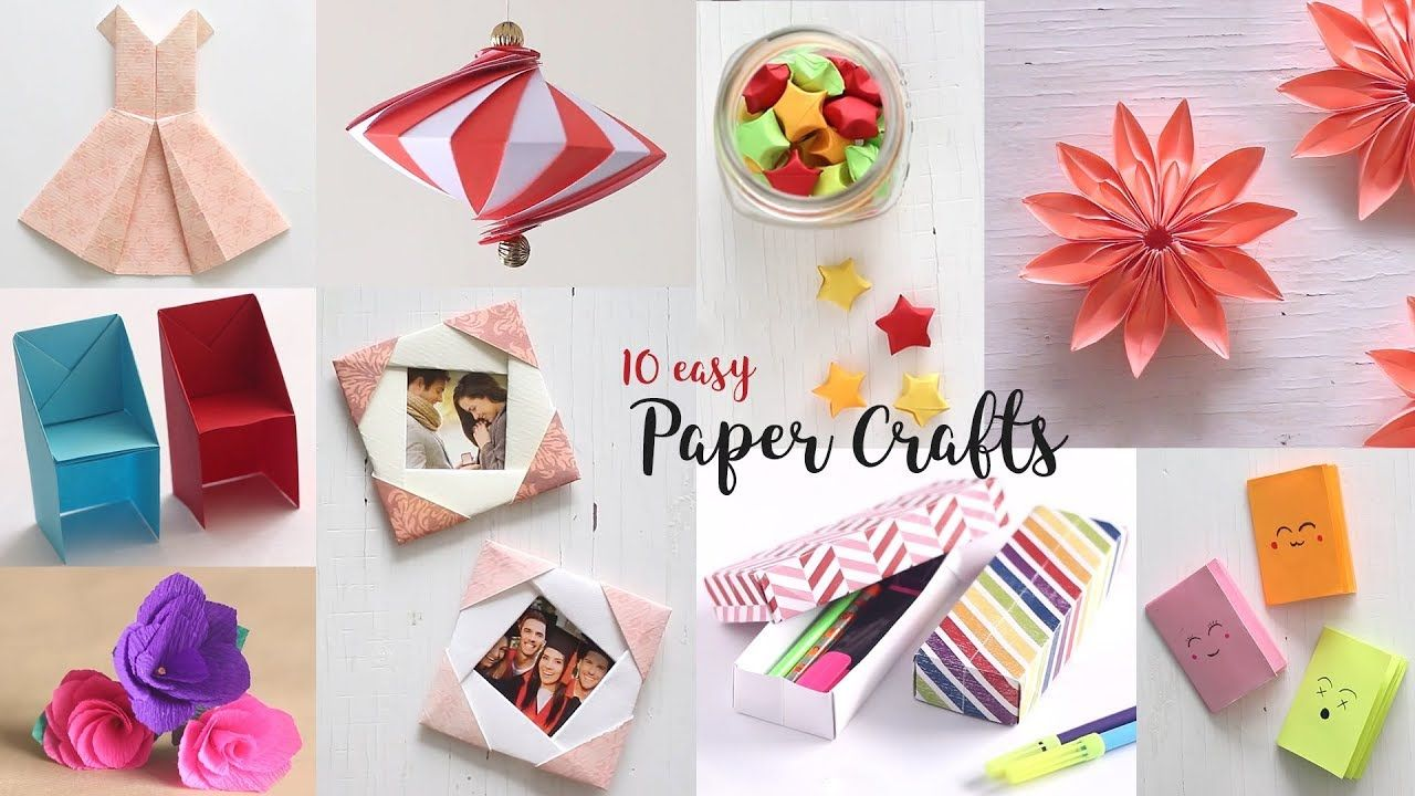 10 Easy Paper Crafts Compilation Diy Craft Ideas Art All The Way