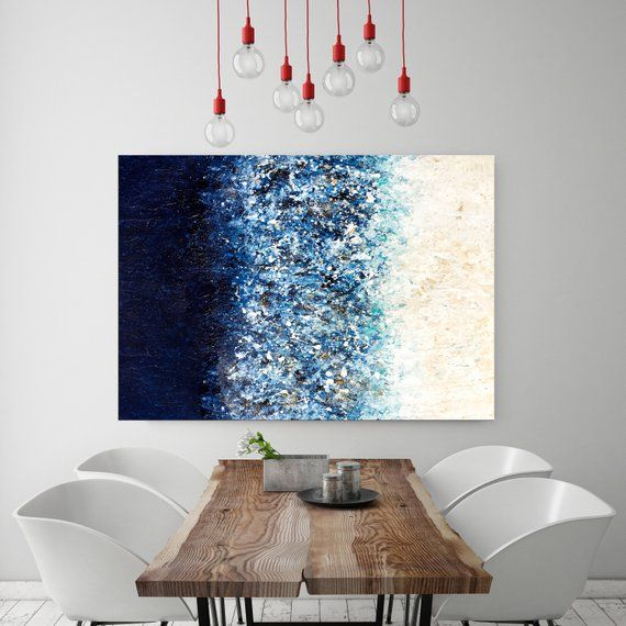 Large Wall Art Navy Blue Art Painting On Canvas Abstract Etsy In 2021 Blue Art Painting Blue Wall Art Blue Abstract Painting