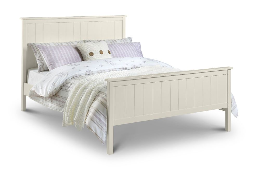 Harmony Stone White High Foot End Wooden Bed In Single Double