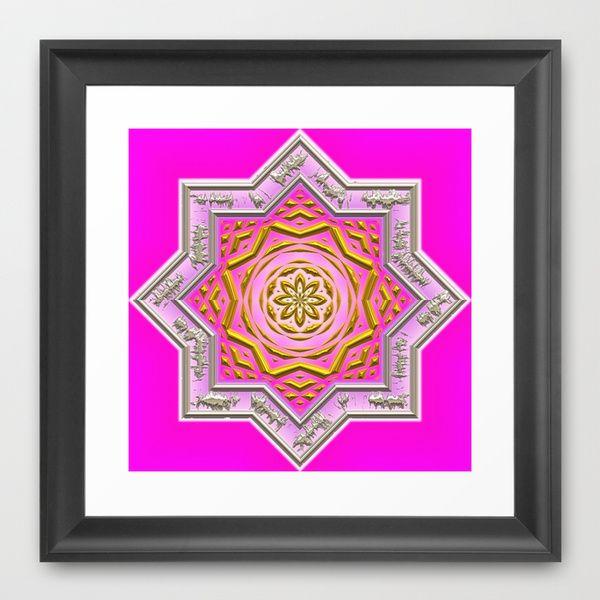 Wonderful Mandala Star, hot pink Framed Art Print