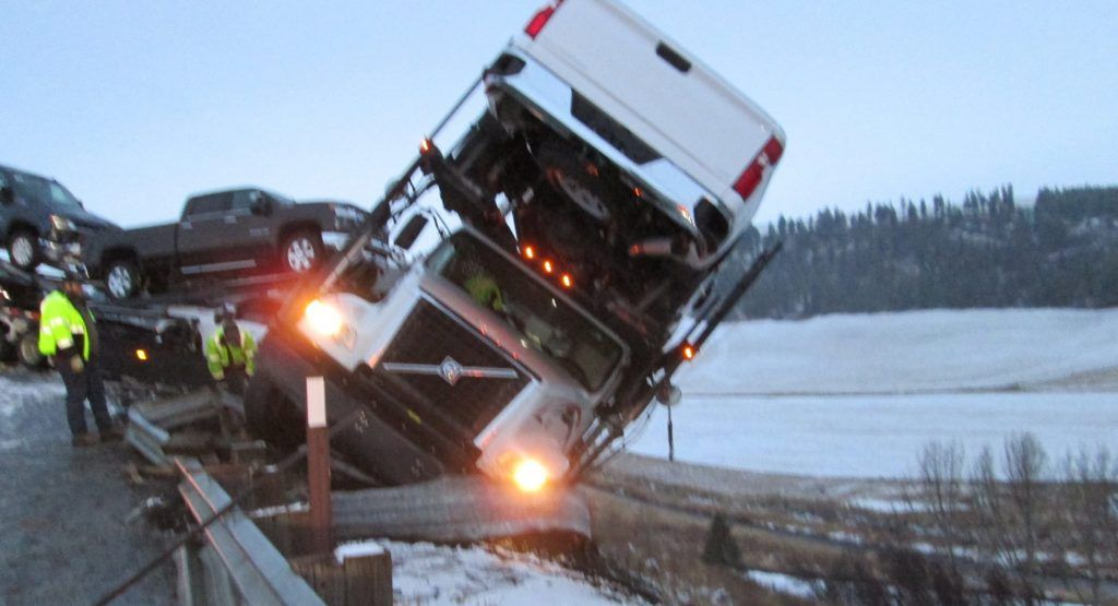 Truck Carrying Six Chevrolets Almost Slides Off Washington Cliff