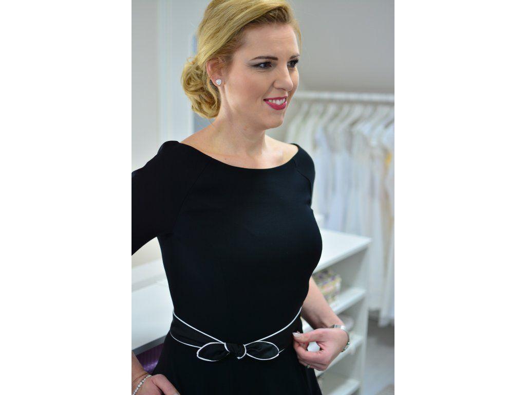 4cf14ea4137 Černé dílové šaty s páskem elegantní šaty s raglánovými rukávy širší  lodičkový výstřih 3 4
