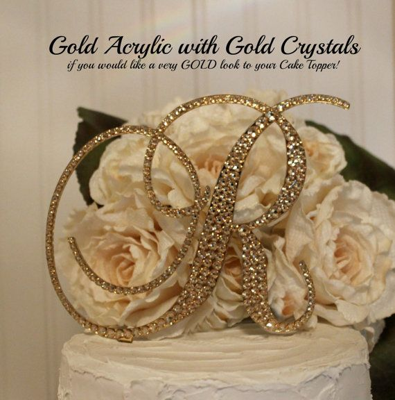 GOLD Acrylic With SWAROVSKI Crystals Monogram Wedding Cake Topper In Any Letter A B C D E F G H I J K L M N O P Q R S T U V W X Y Z