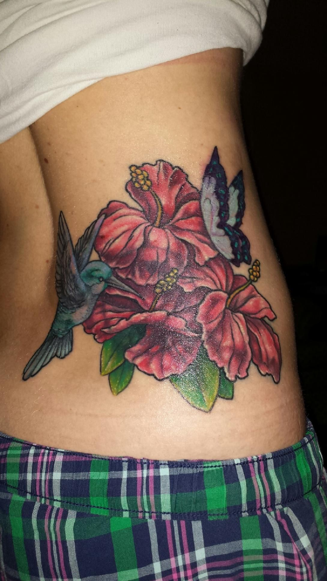 Love My Tattoo Artist Coverup Hibiscus Hummingbird
