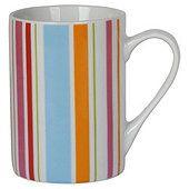 Tesco Bright Spot And Stripe Set Of 4 Porcelain Mugs Porcelain Mugs Mugs Tesco