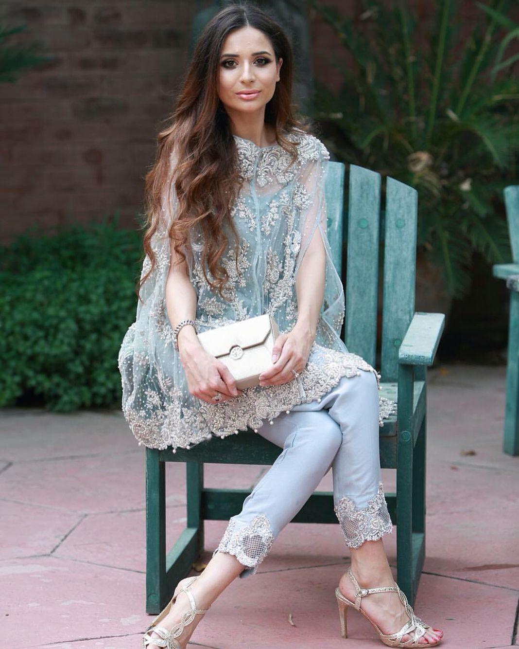 Cape chantilly lace love Pakistani formal wear - amazing make up ...