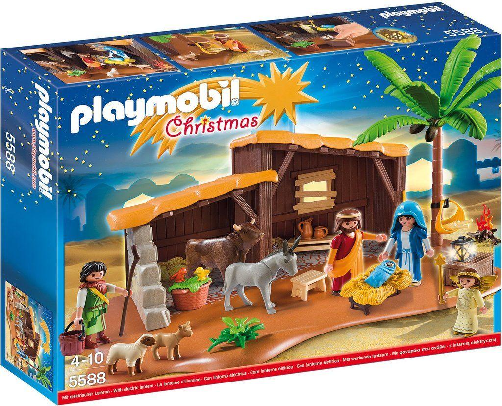 Playmobil Christmas 5588 Grosse Weihnachtskrippe Mit Beleuchtung Spielset Mit Zubehor Playmobil Weihnachtsstall Play Mobile