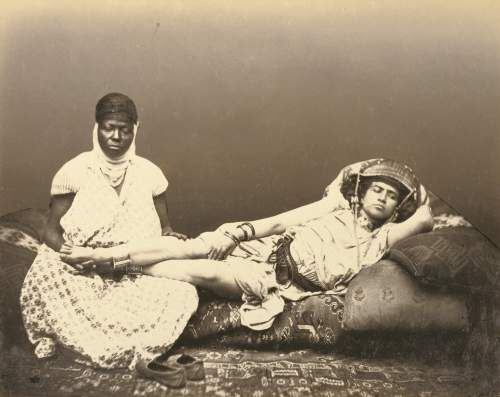 Félix Jacques Moulin, photographer. A Moorish Woman with Her Maid (slave), about 1856