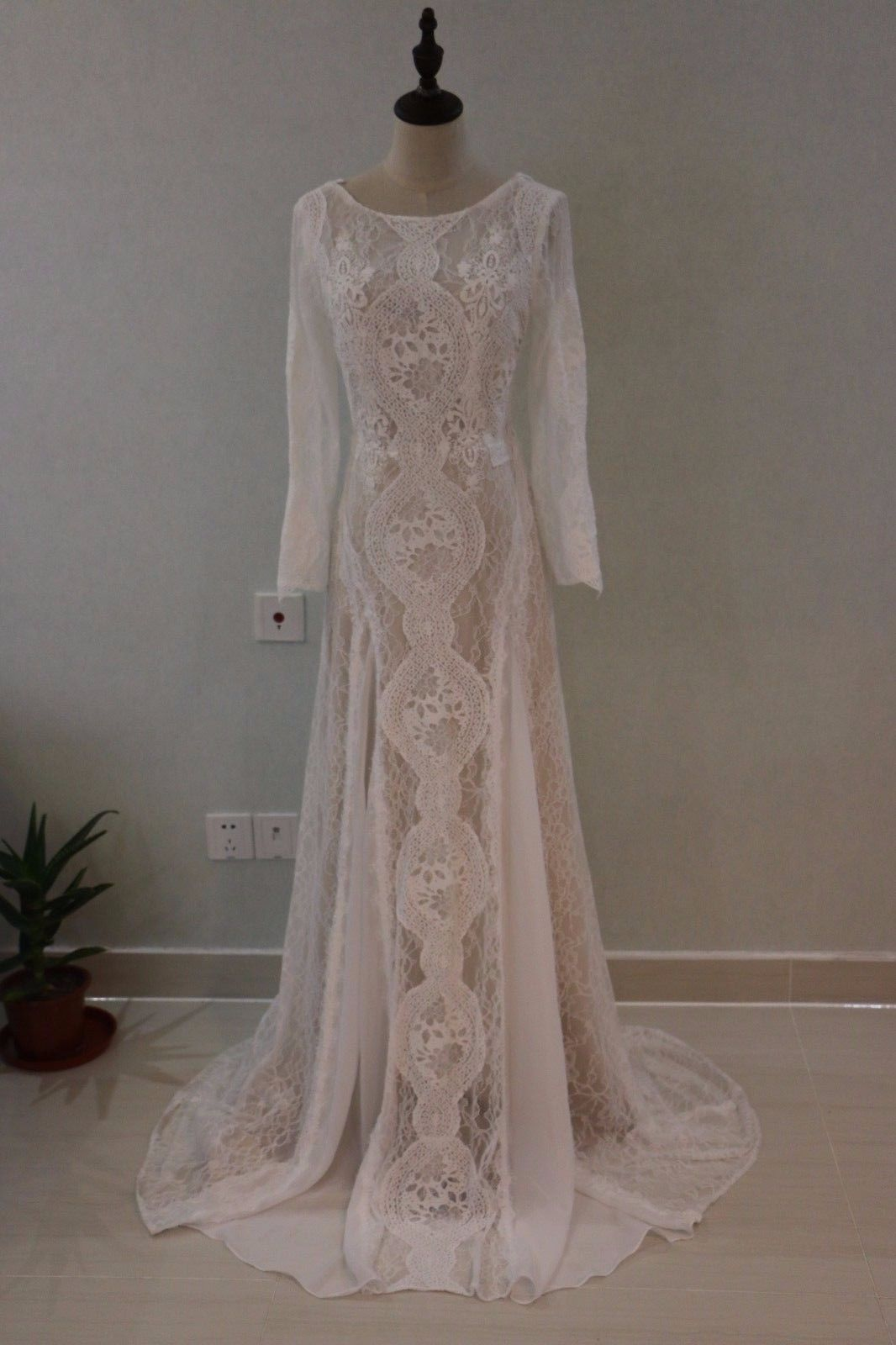 Cool great full lace summer boho wedding dress long sleeves backless