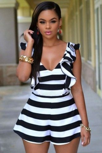 663d7c4df5c6 romper wots-hot-right-now black and white black and white stripes silky  silky romper ruffle ruffled romper plunge v neck cleavage sexy sexy rompers  ...