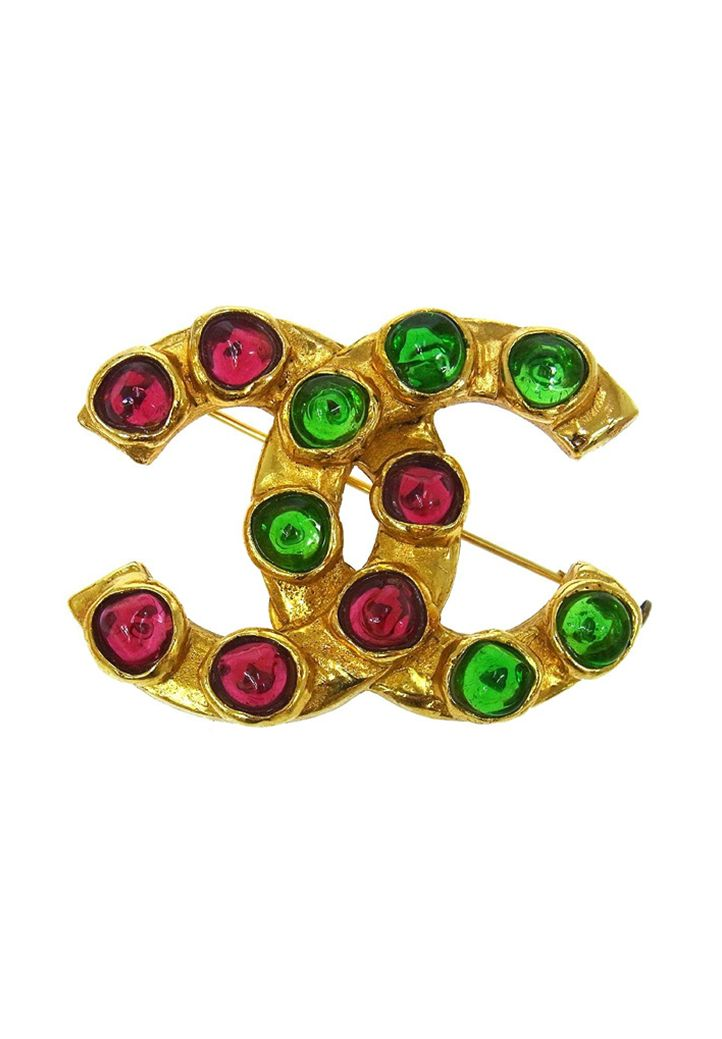 43efed1249a9fa Vintage Chanel brooch decorated with Gripoix crystals of intense colours.