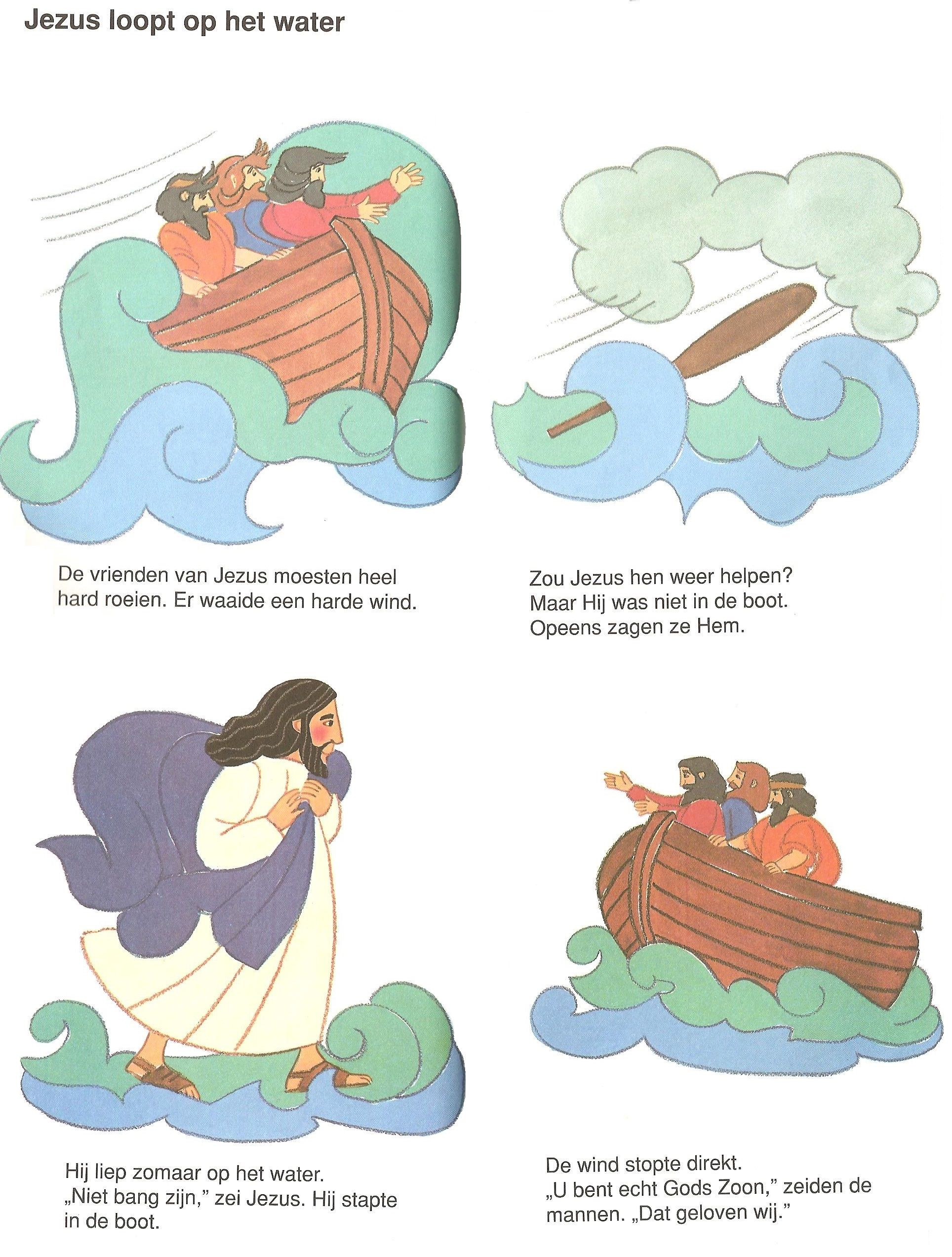 jezus loopt op het water bijbel verhalen bijbel werkjes