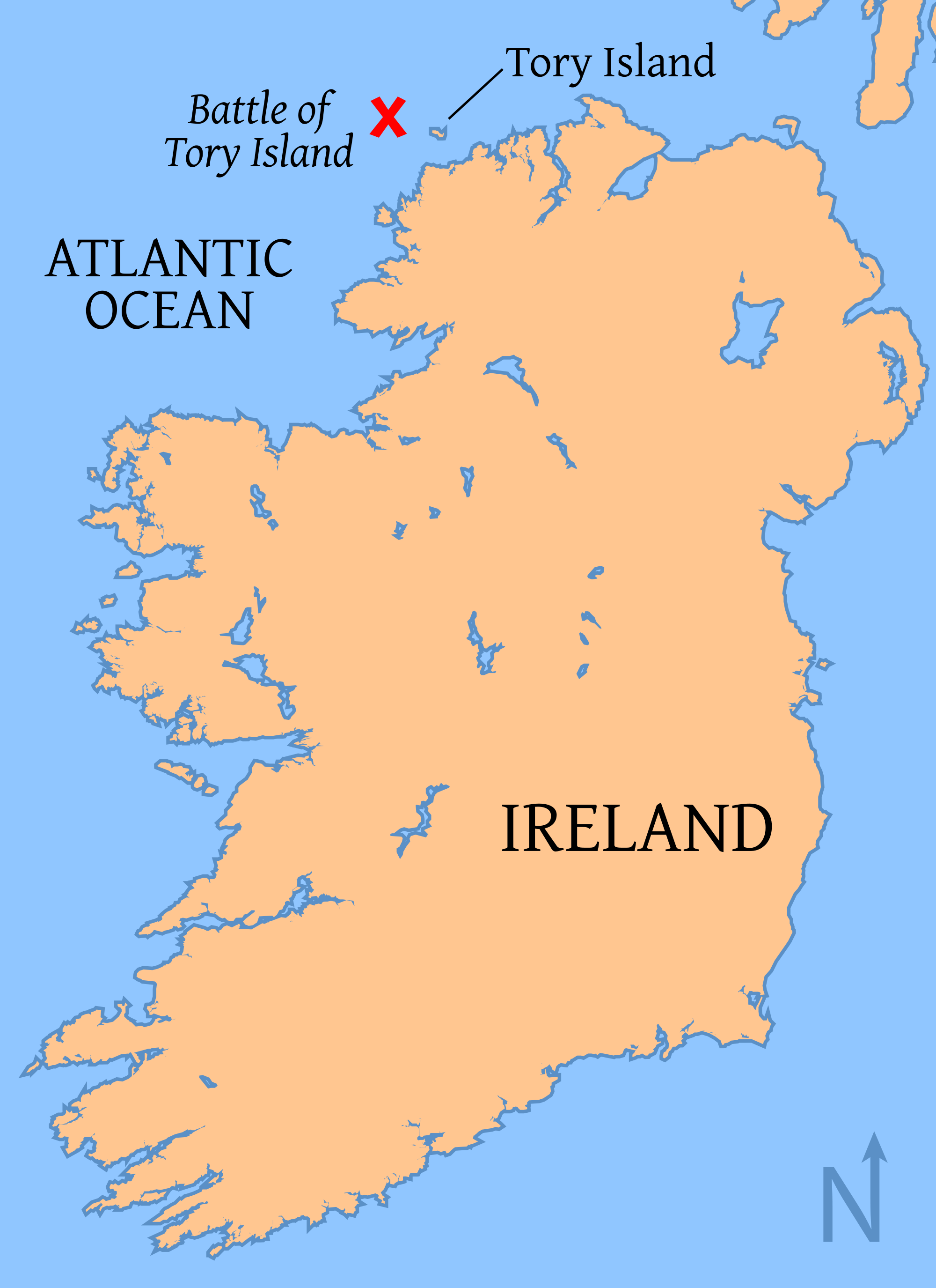 Map Of Ireland With Islands.Map Of Ireland With Tory Island And The Battle Location Shown